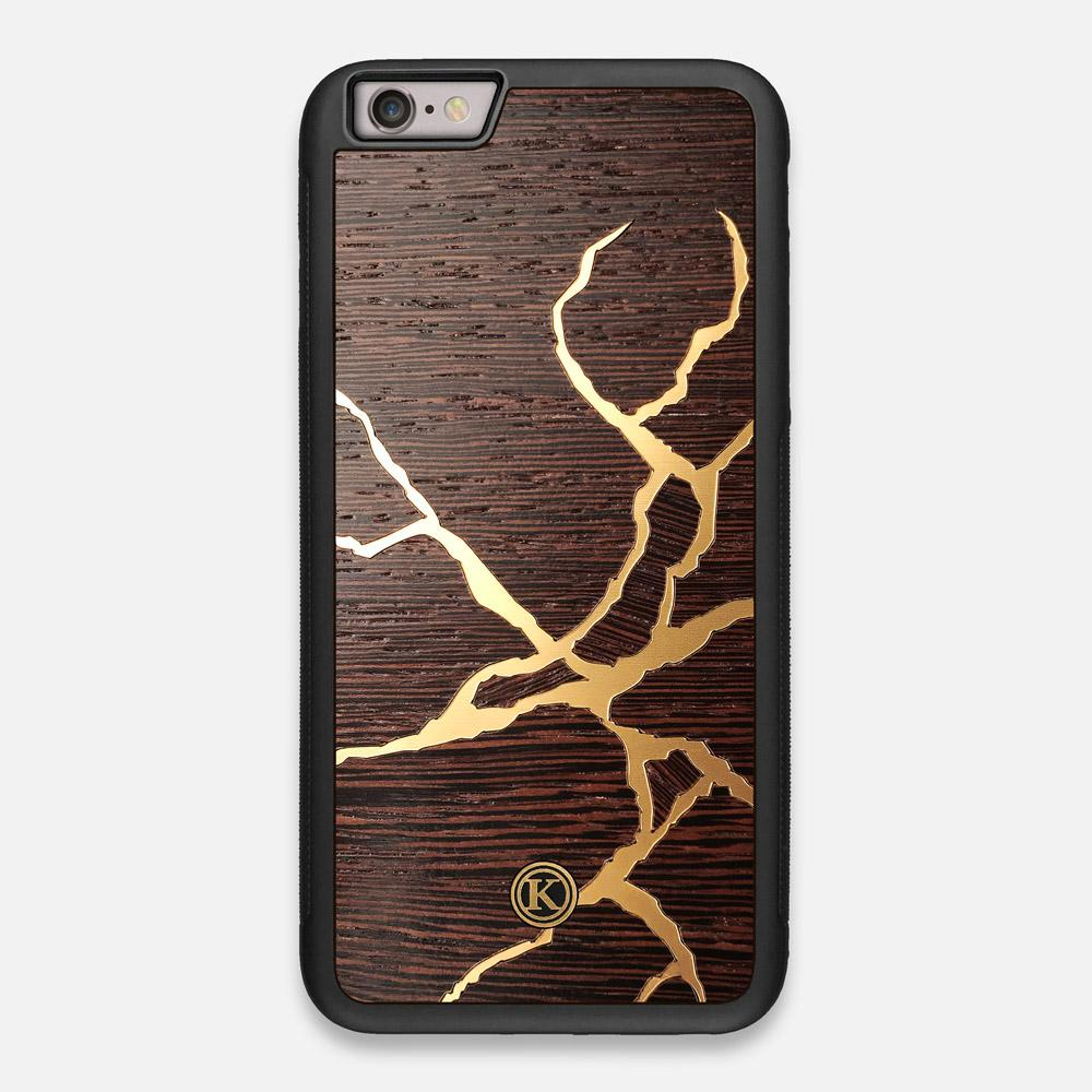 Front view of the Kintsugi inspired Gold and Wenge Wood iPhone 6 Plus Case by Keyway Designs