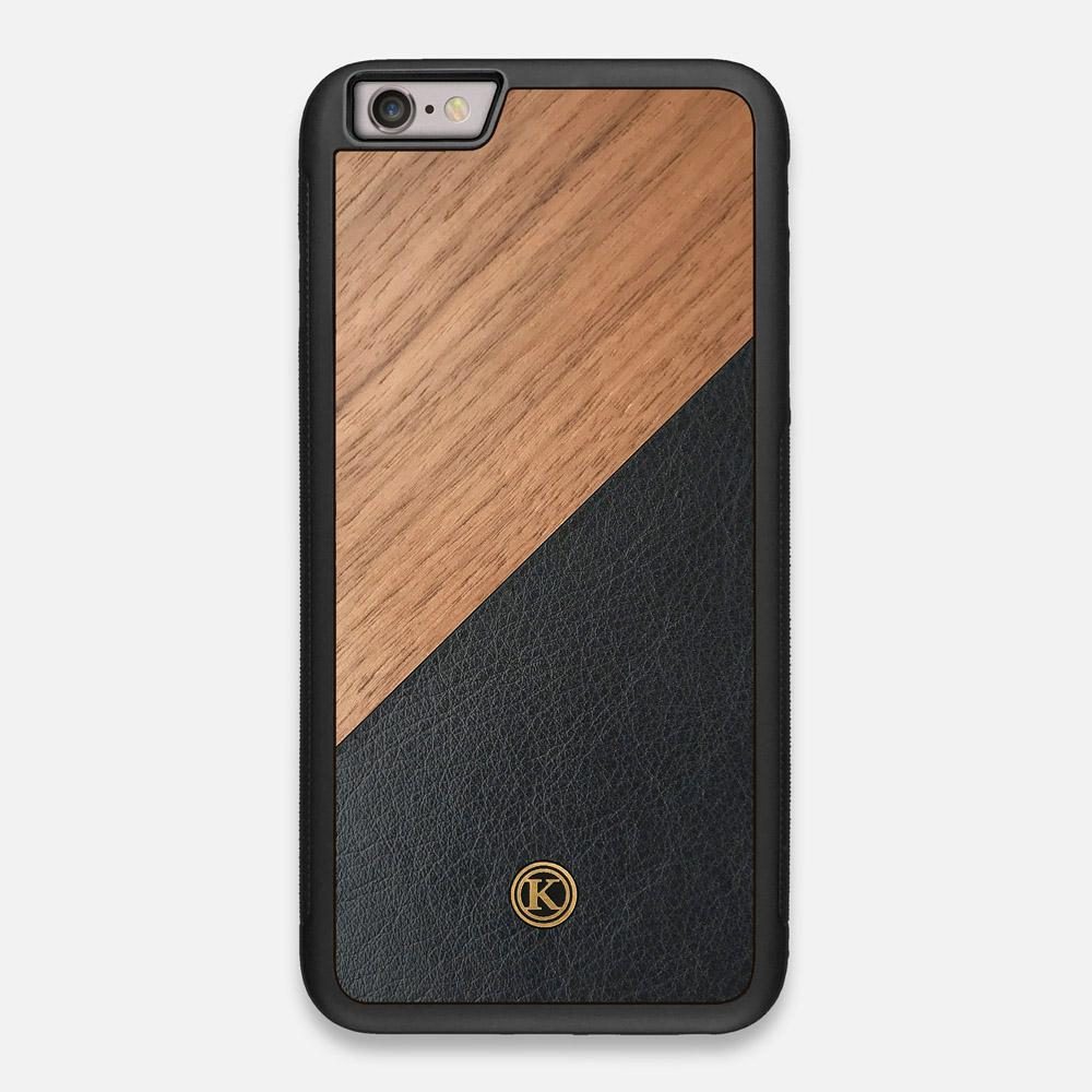 Front view of the Walnut Rift Elegant Wood & Leather iPhone 6 Plus Case by Keyway Designs