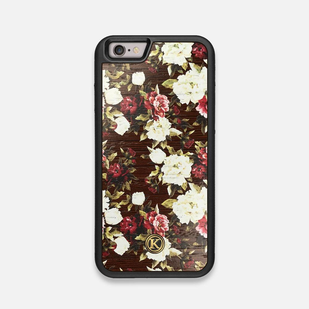 Front view of the Rose white and red rose printed Wenge Wood iPhone 6 Case by Keyway Designs