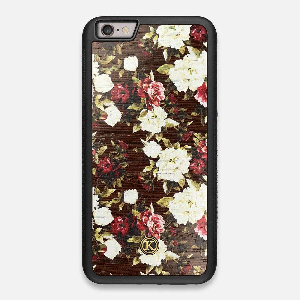Front view of the Rose white and red rose printed Wenge Wood iPhone 6 Plus Case by Keyway Designs