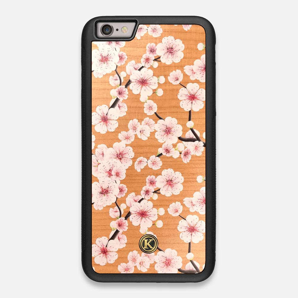 Front view of the Sakura Printed Cherry-blossom Cherry Wood iPhone 6 Plus Case by Keyway Designs