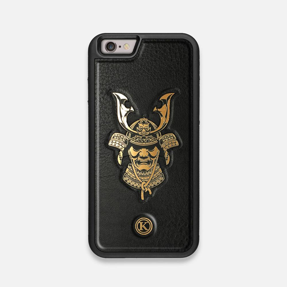 Front view of the Samurai Black Leather iPhone 6 Case by Keyway Designs