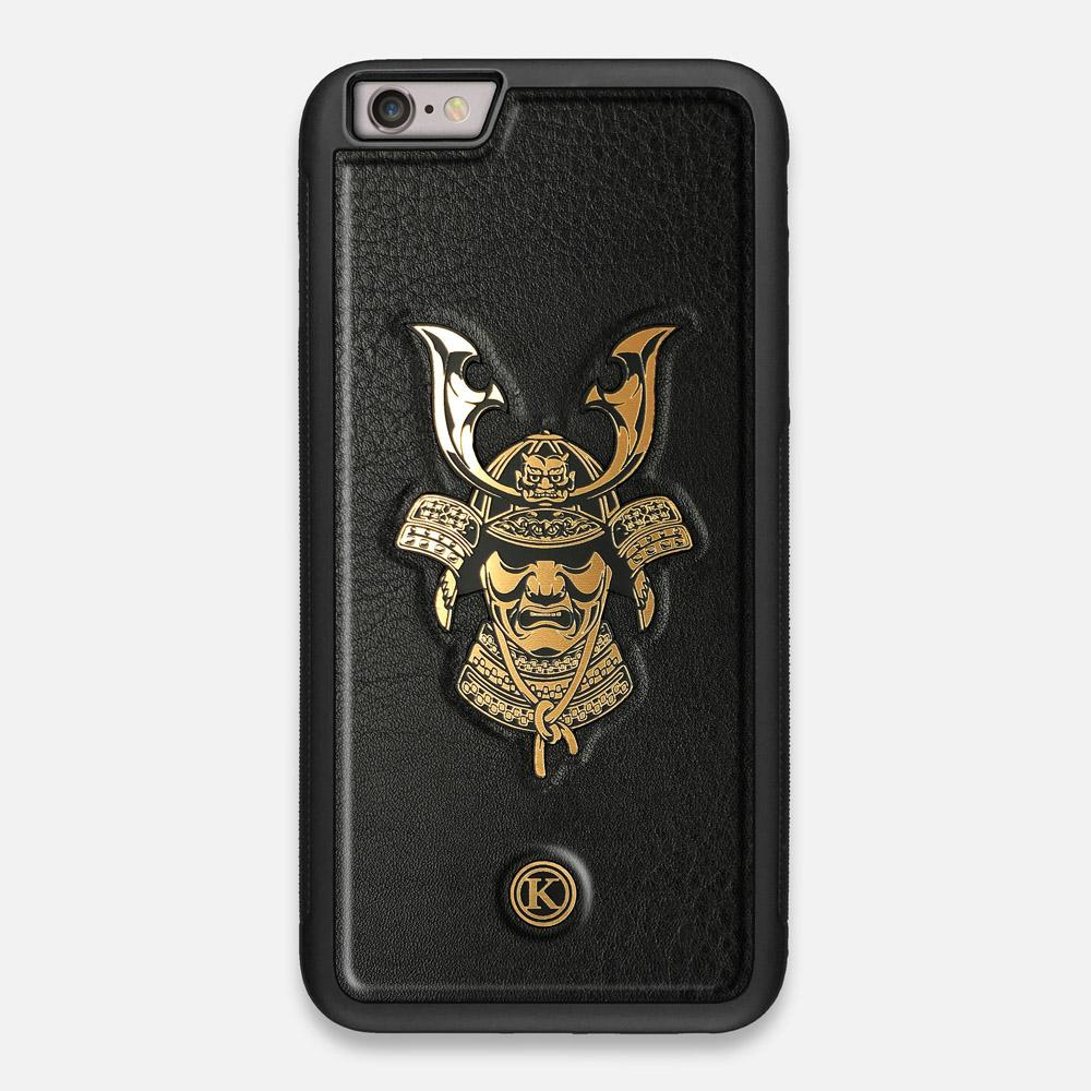 Front view of the Samurai Black Leather iPhone 6 Plus Case by Keyway Designs