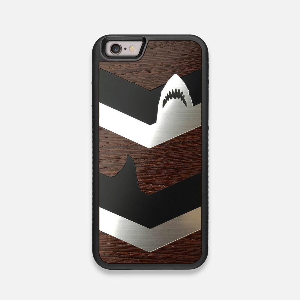 Front view of the Shark Chevron Dark By Parker Barrow Wenge Wood iPhone 6 Case by Keyway Designs