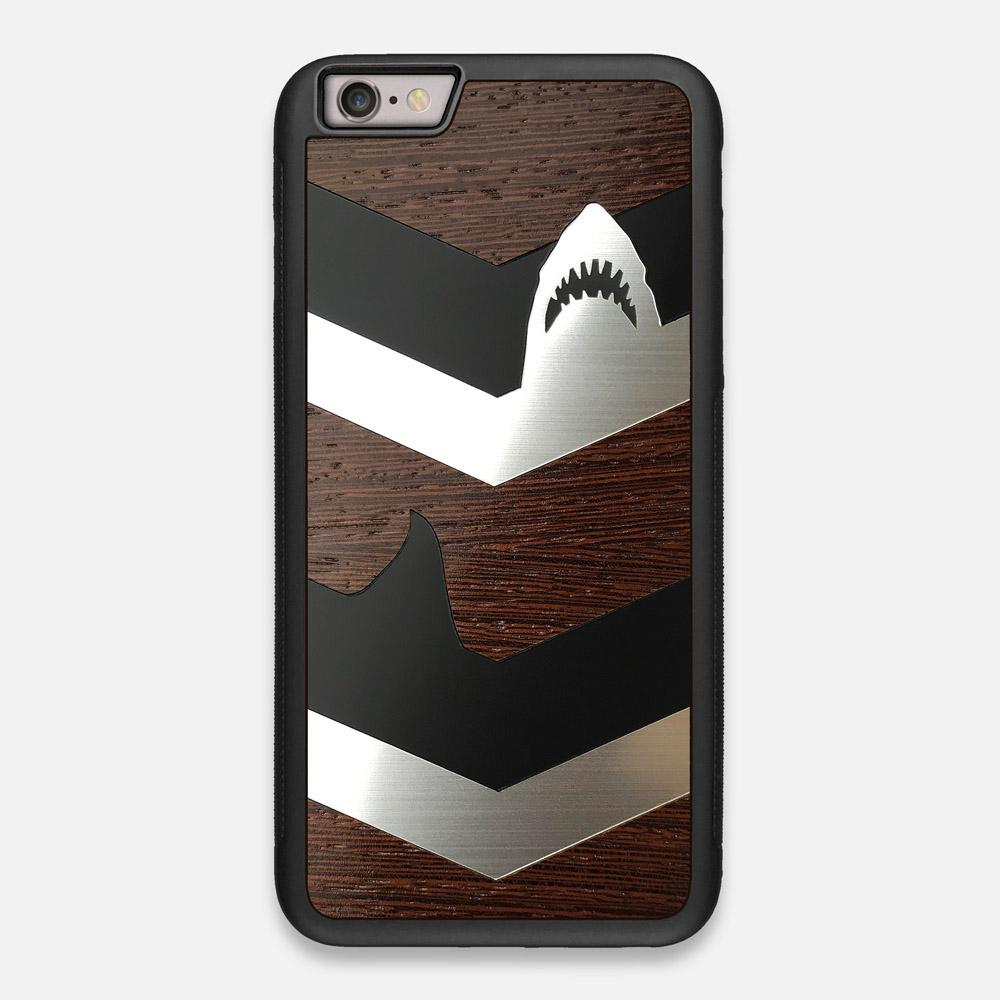 Front view of the Shark Chevron Dark By Parker Barrow Wenge Wood iPhone 6 Plus Case by Keyway Designs