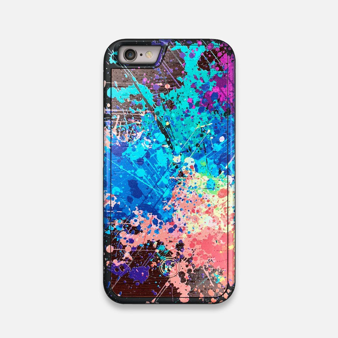 Front view of the realistic paint splatter 'Chroma' printed Wenge Wood iPhone 6 Case by Keyway Designs