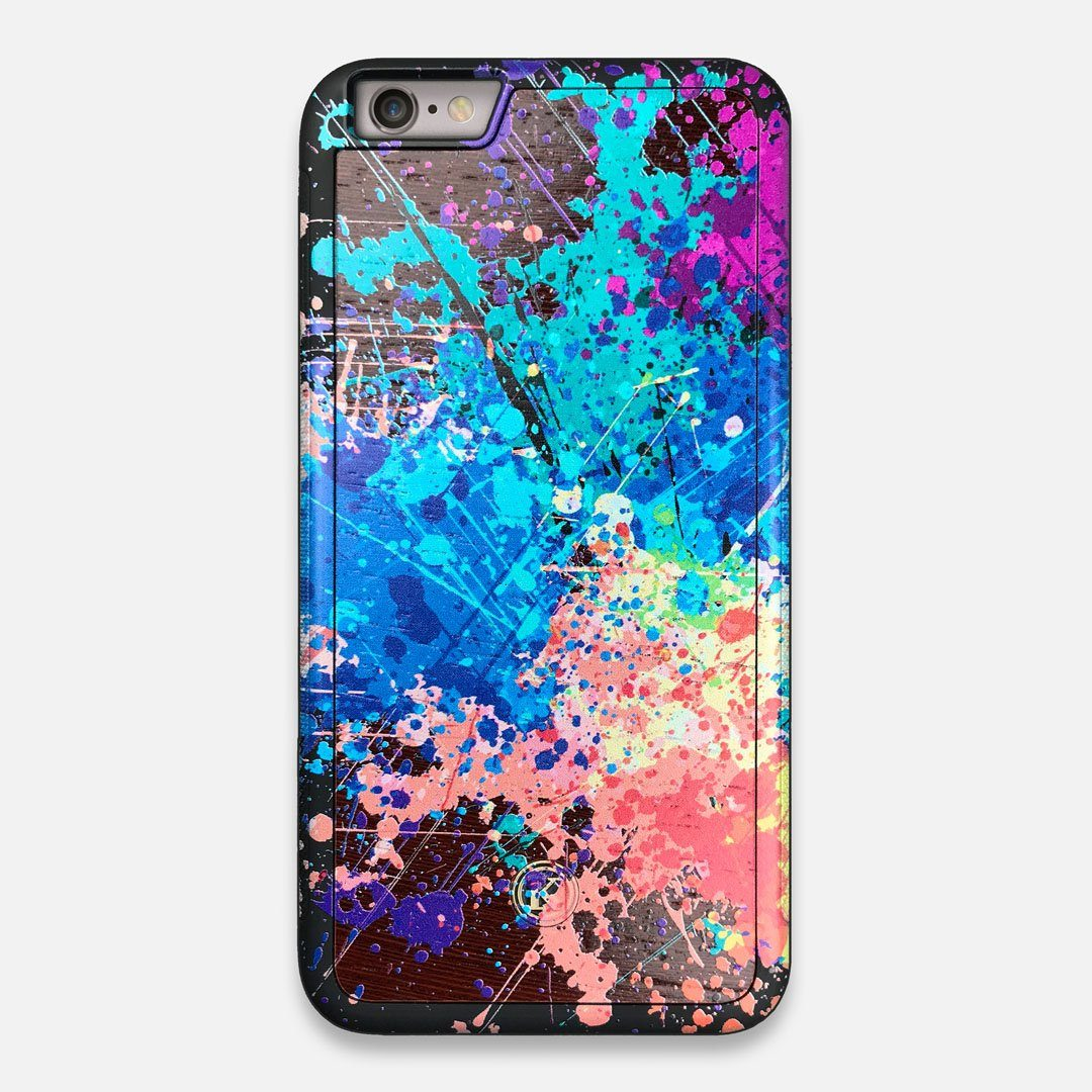 Front view of the realistic paint splatter 'Chroma' printed Wenge Wood iPhone 6 Plus Case by Keyway Designs