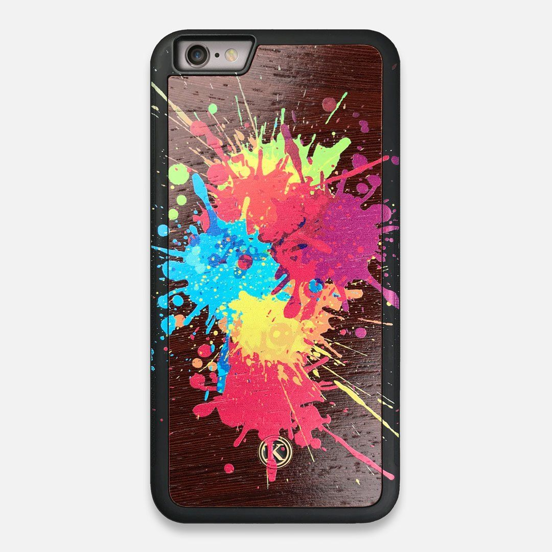Front view of the illustration-style paint drops printed Wenge Wood iPhone 6 Plus Case by Keyway Designs