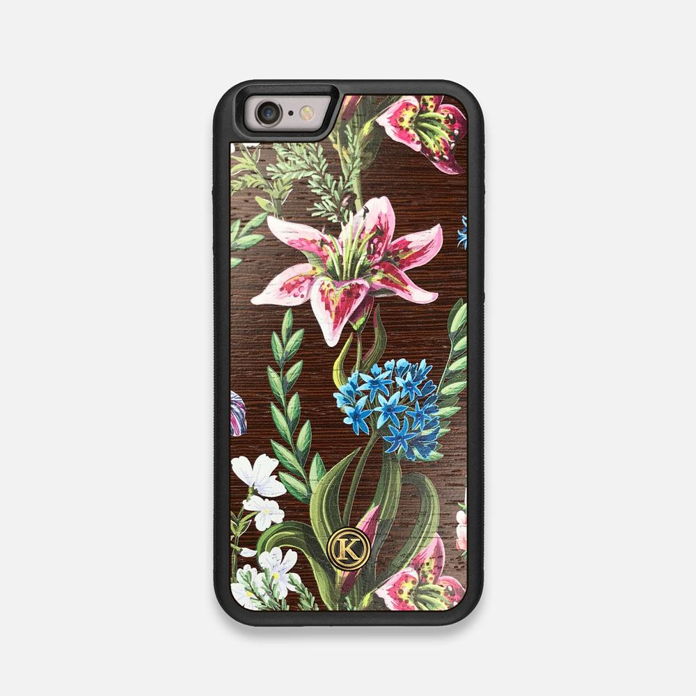 Front view of the Stargazer Lily printed Wenge Wood iPhone 6 Case by Keyway Designs