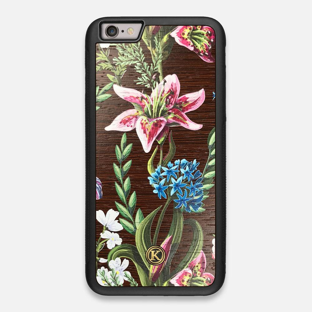 Front view of the Stargazer Lily printed Wenge Wood iPhone 6 Plus Case by Keyway Designs
