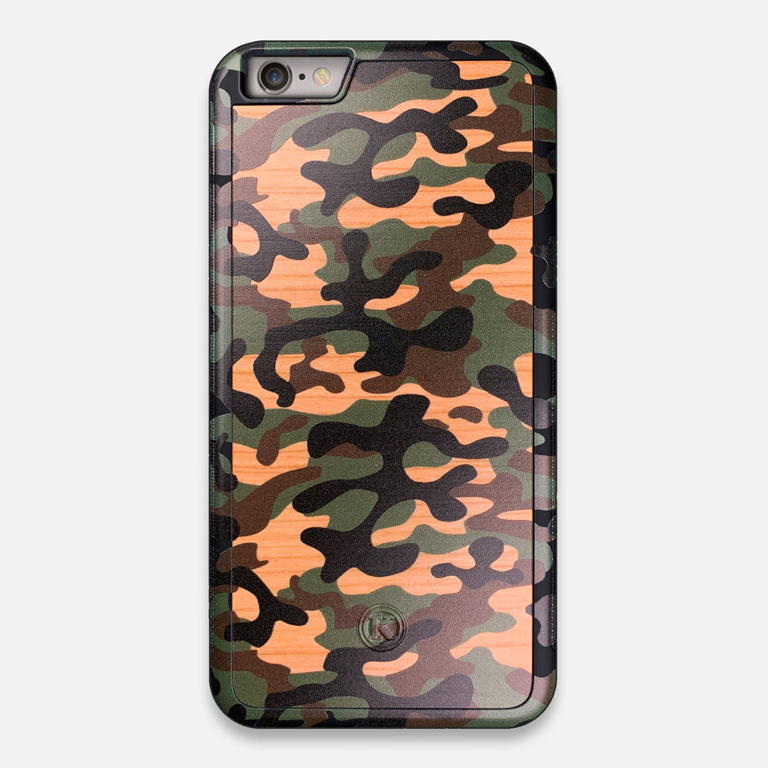 Front view of the stealth Paratrooper camo printed Wenge Wood iPhone 6 Plus Case by Keyway Designs
