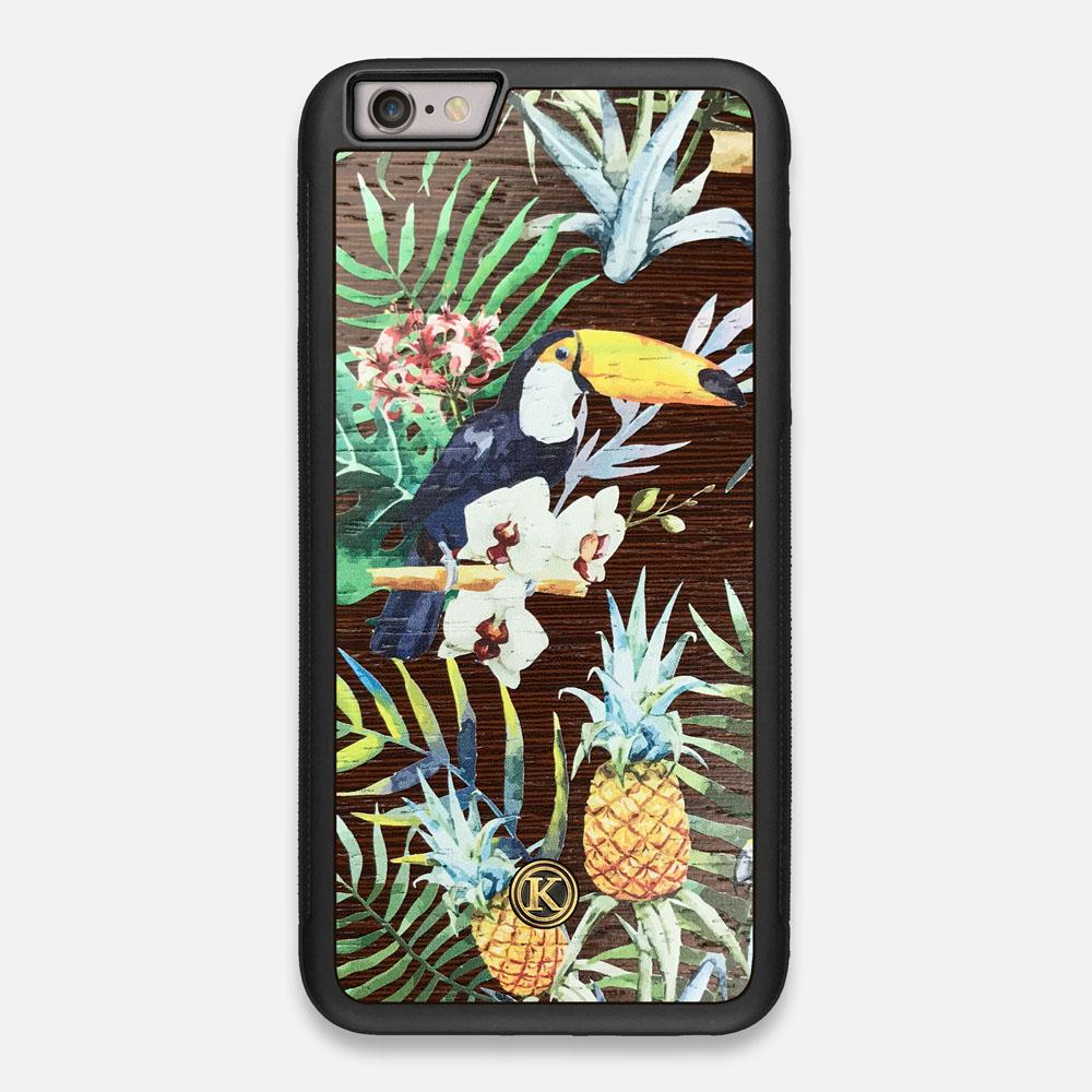 Front view of the Tropic Toucan and leaf printed Wenge Wood iPhone 6 Plus Case by Keyway Designs