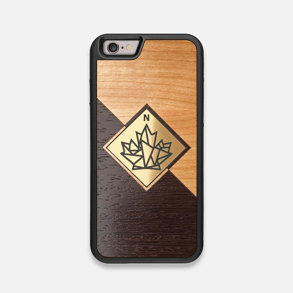 Front view of the True North by Northern Philosophy Cherry & Wenge Wood iPhone 6 Case by Keyway Designs