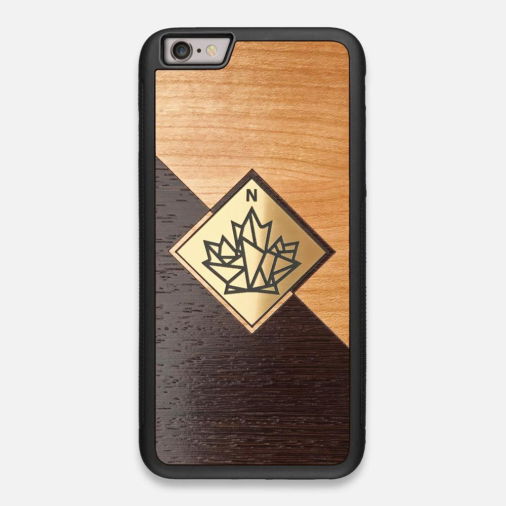 Front view of the True North by Northern Philosophy Cherry & Wenge Wood iPhone 6 Plus Case by Keyway Designs
