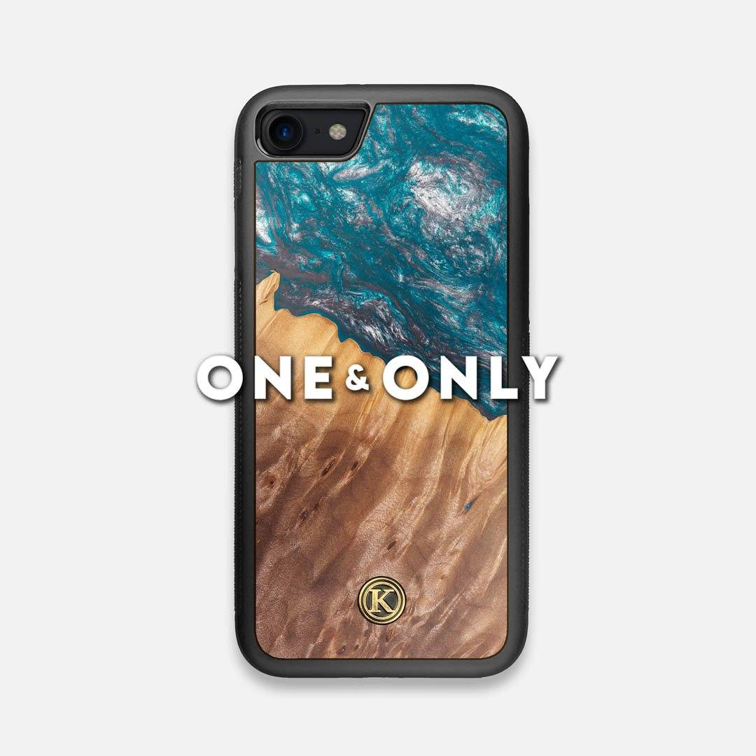 Front view of the One and Only Wood and Resin iPhone 7/8 Case by Keyway Designs