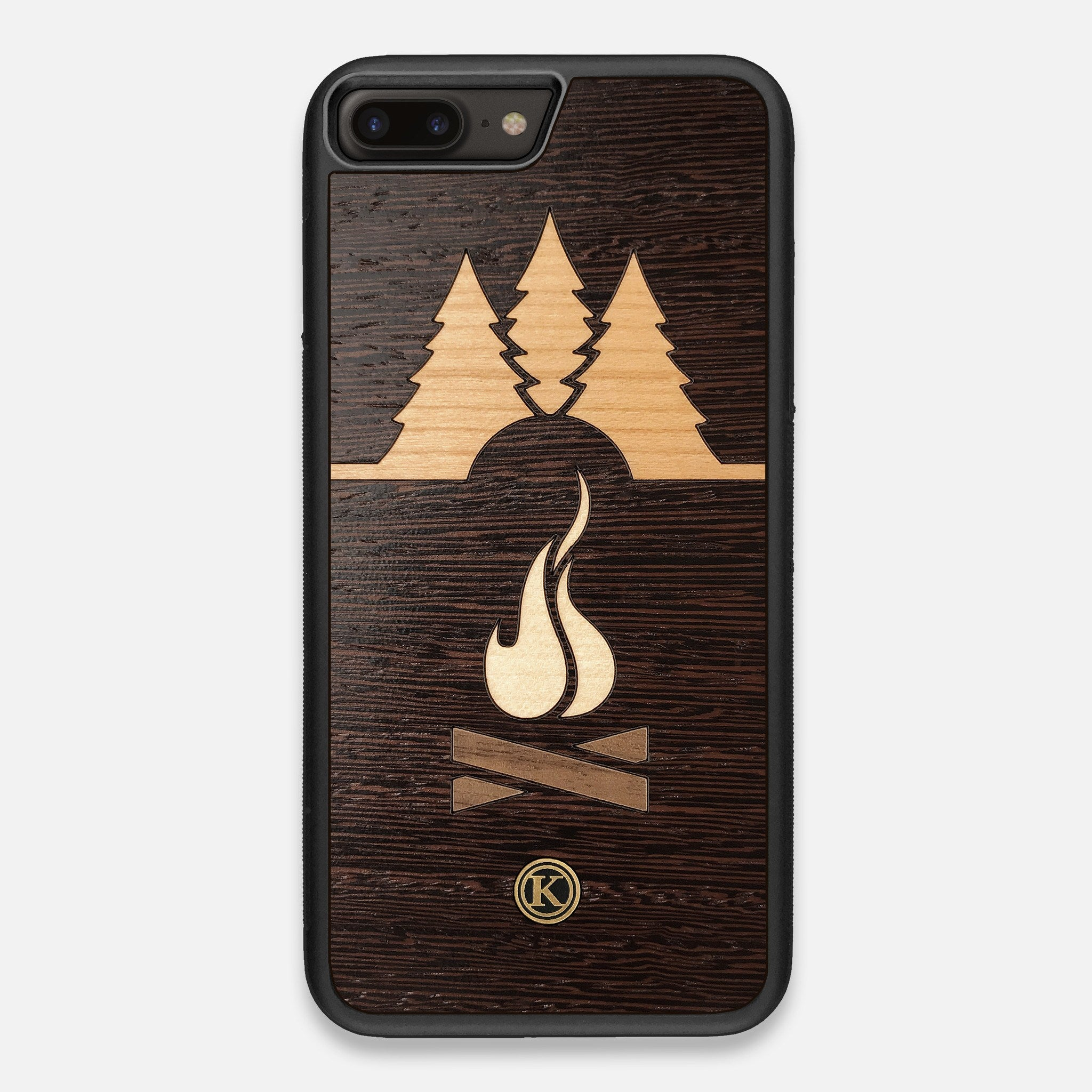 Front view of the Nomad Campsite Wood iPhone 7/8 Plus Case by Keyway Designs