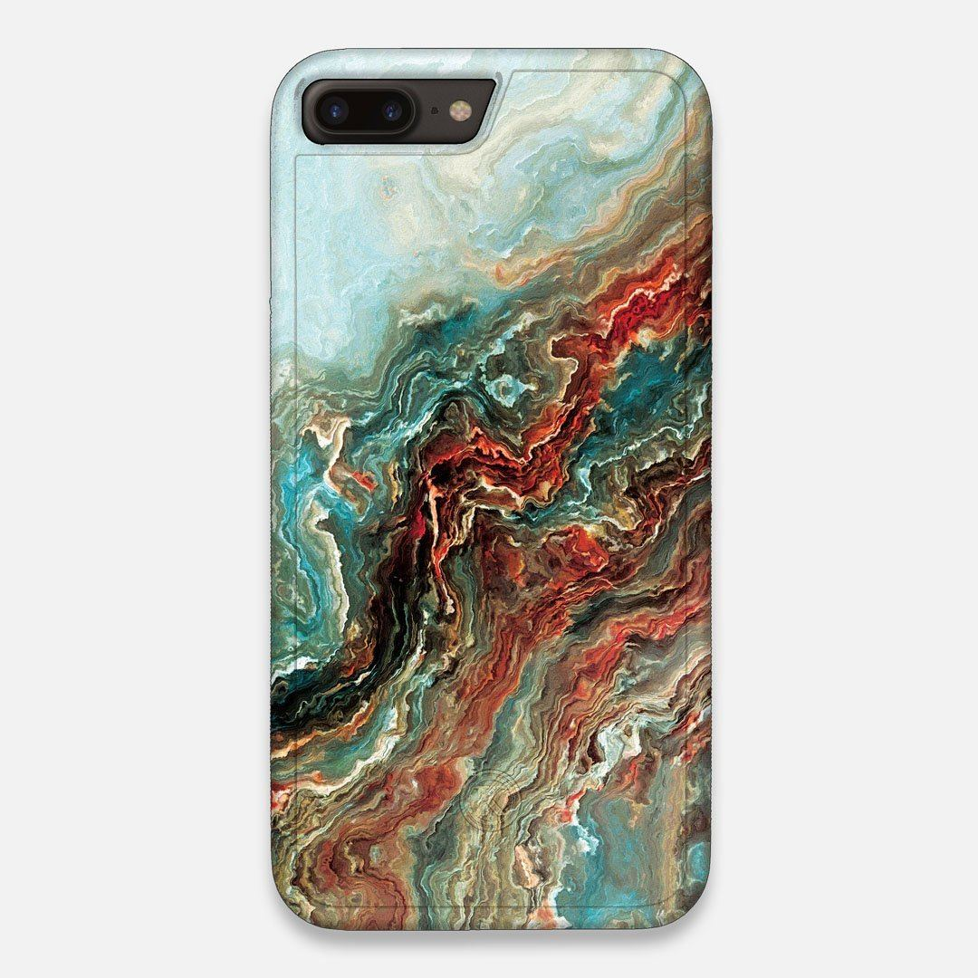 Front view of the vibrant and rich Red & Green flowing marble pattern printed Wenge Wood iPhone 7/8 Plus Case by Keyway Designs