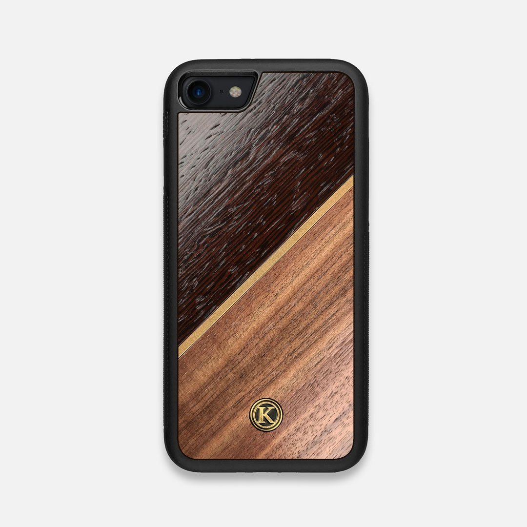 Front view of the Alium Walnut, Gold, and Wenge Elegant Wood iPhone 7/8 Case by Keyway Designs