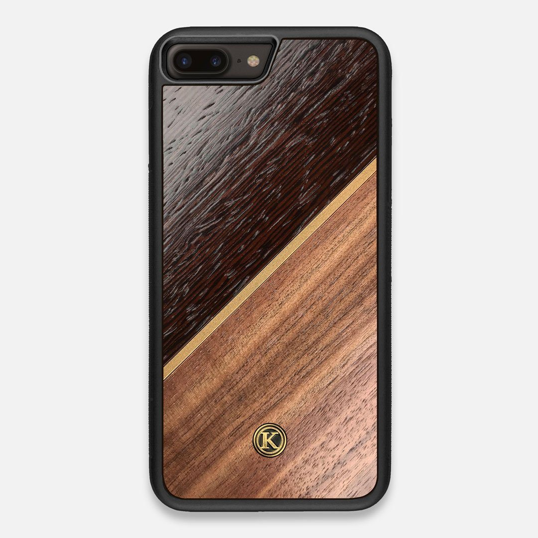 Front view of the Alium Walnut, Gold, and Wenge Elegant Wood iPhone 7/8 Plus Case by Keyway Designs