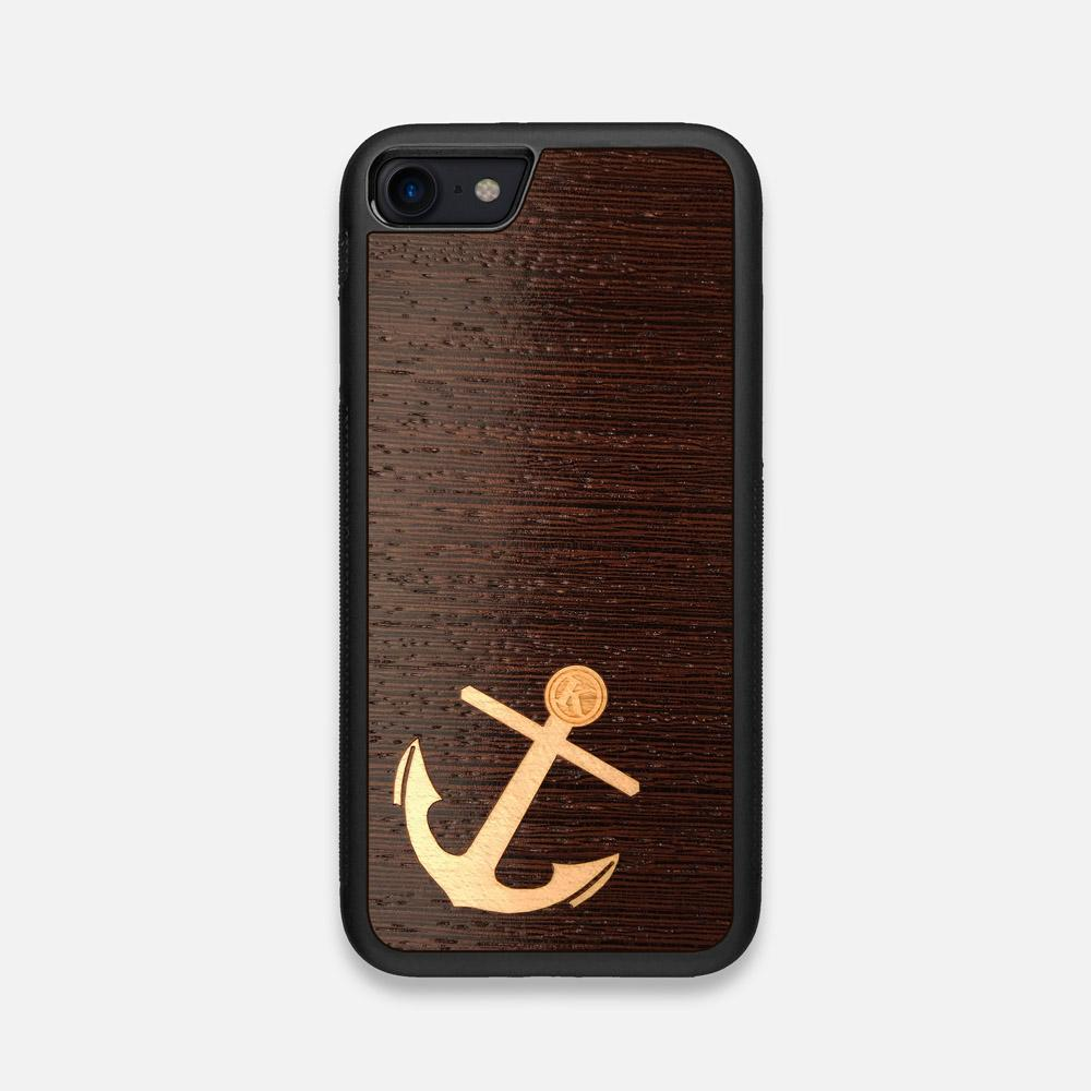 Front view of the Anchor Wenge Wood iPhone 7/8 Case by Keyway Designs