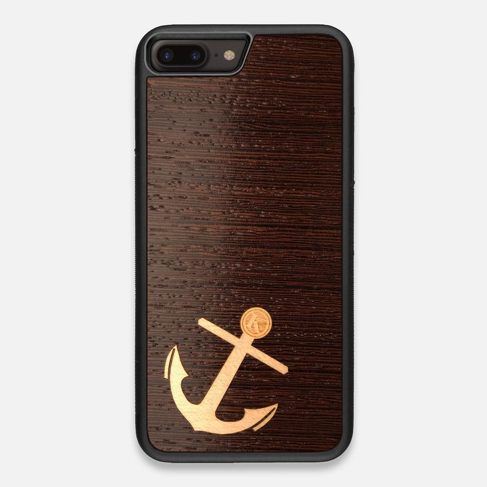Front view of the Anchor Wenge Wood iPhone 7/8 Plus Case by Keyway Designs