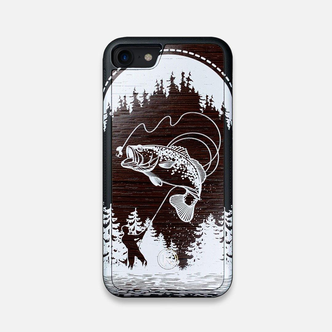 Front view of the high-contrast spotted bass printed Wenge Wood iPhone 7/8 Case by Keyway Designs