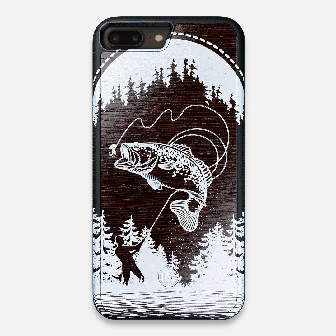 Front view of the high-contrast spotted bass printed Wenge Wood iPhone 7/8 Plus Case by Keyway Designs