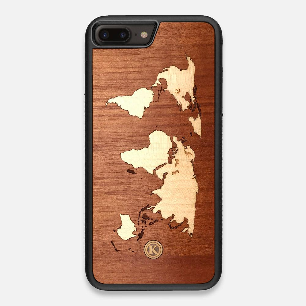 Front view of the Atlas Sapele Wood iPhone 7/8 Plus Case by Keyway Designs