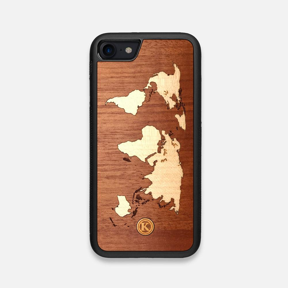 Front view of the Atlas Sapele Wood iPhone 7/8 Case by Keyway Designs