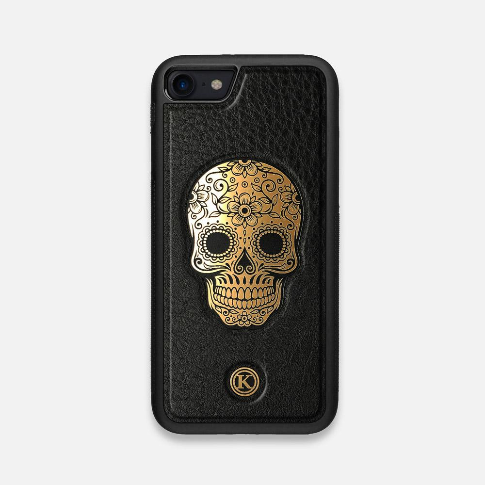 Front view of the Auric Black Leather iPhone 7/8 Case by Keyway Designs