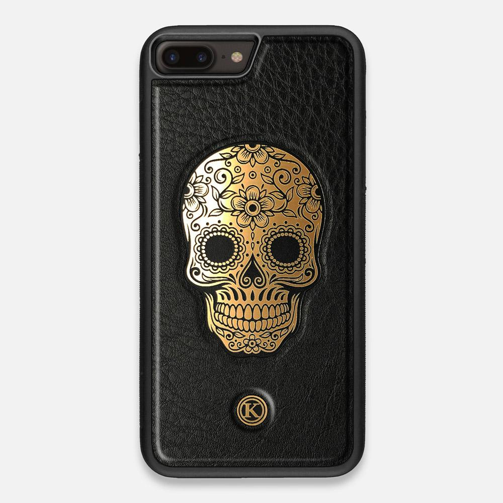 Front view of the Auric Black Leather iPhone 7/8 Plus Case by Keyway Designs