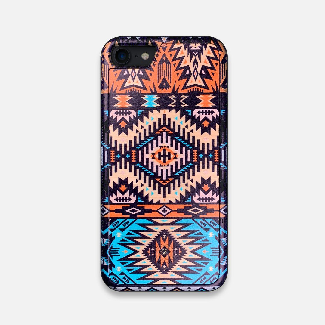 Front view of the vibrant Aztec printed Maple Wood iPhone 7/8 Case by Keyway Designs