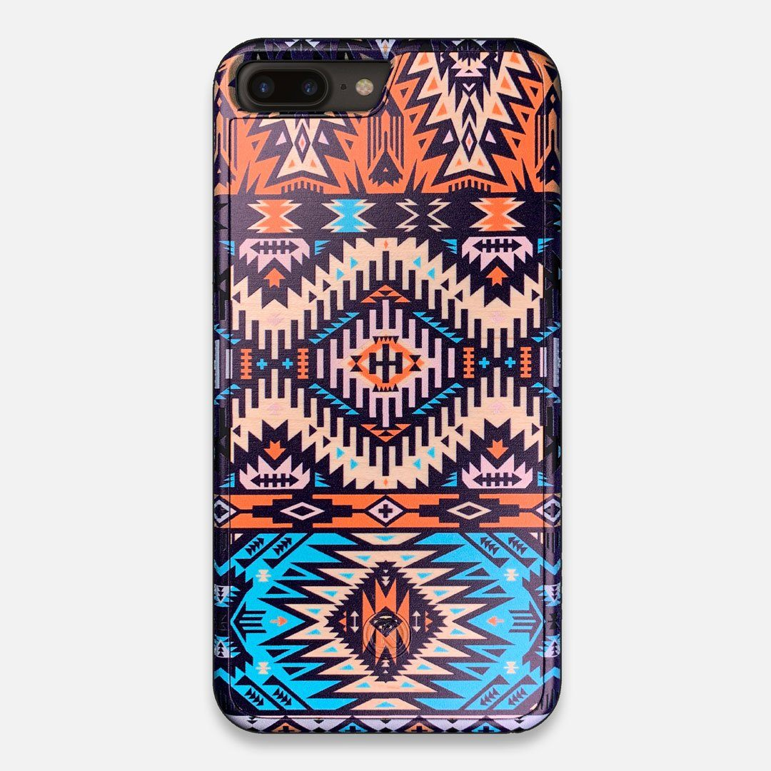 Front view of the vibrant Aztec printed Maple Wood iPhone 7/8 Plus Case by Keyway Designs
