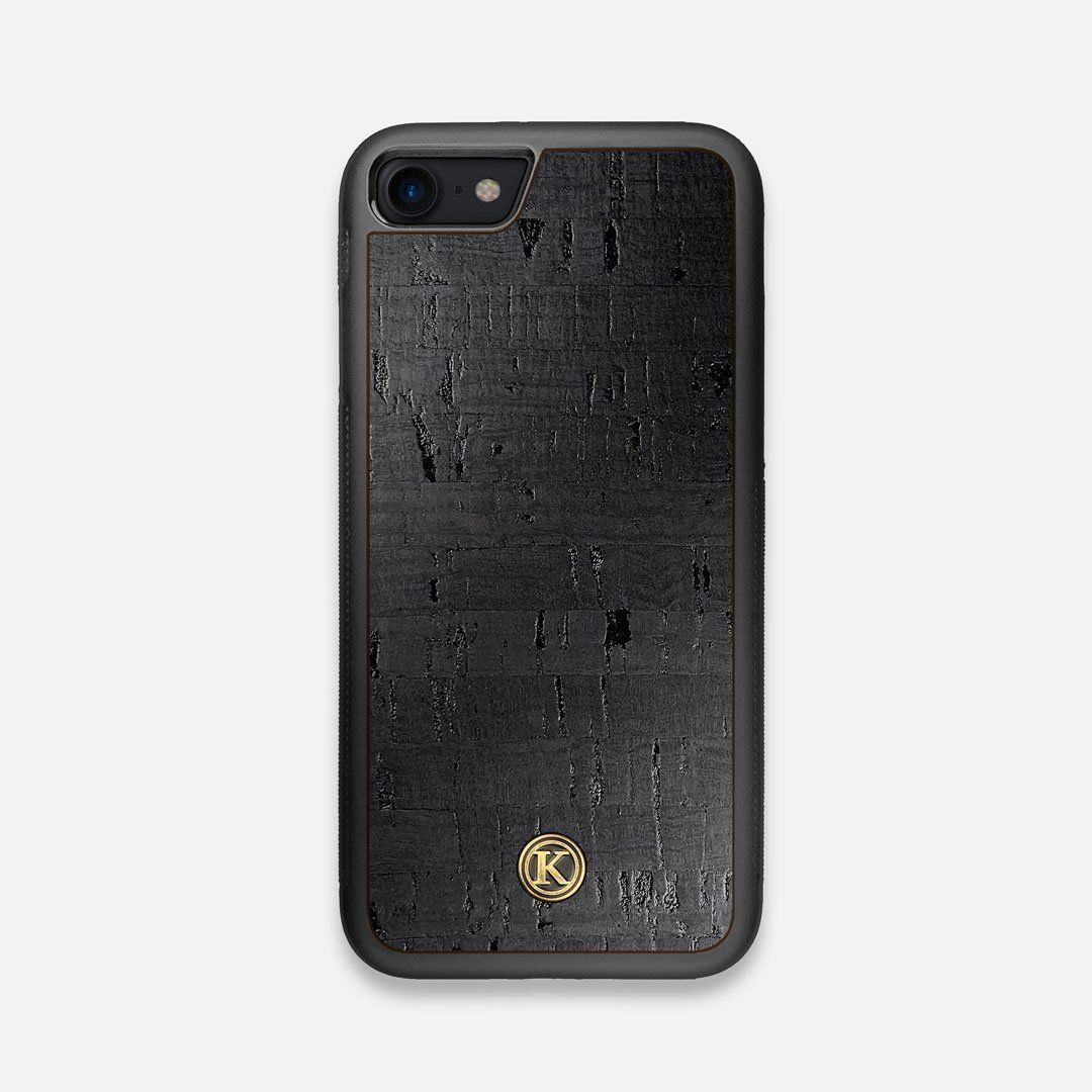 Front view of the dyed black natural cork iPhone 7/8 Case by Keyway Designs