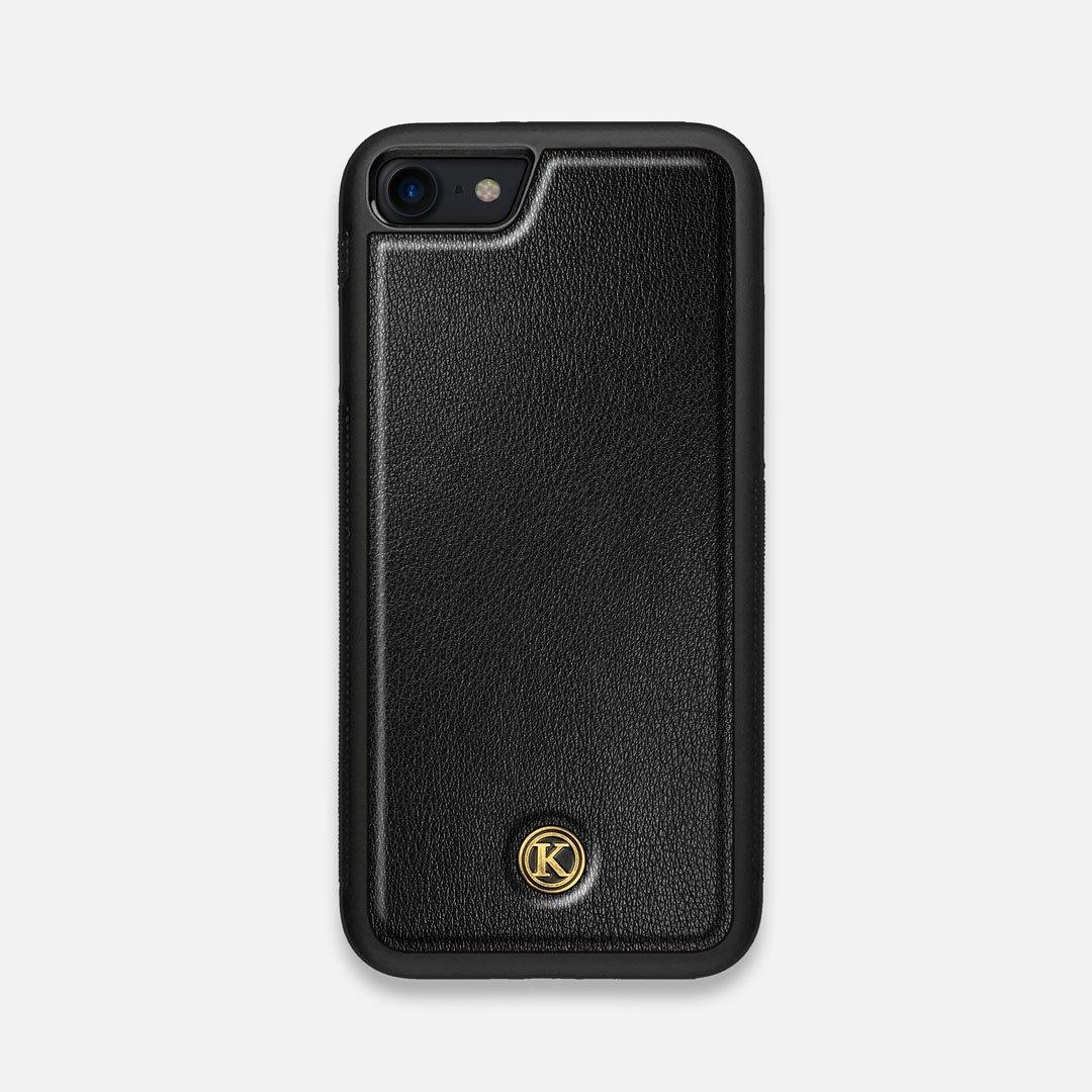 Front view of the Blank Black Leather iPhone 7/8 Case by Keyway Designs