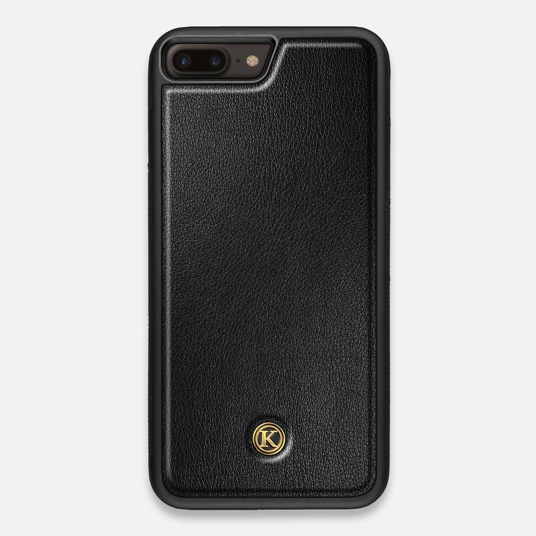 Front view of the Blank Black Leather iPhone 7/8 Plus Case by Keyway Designs