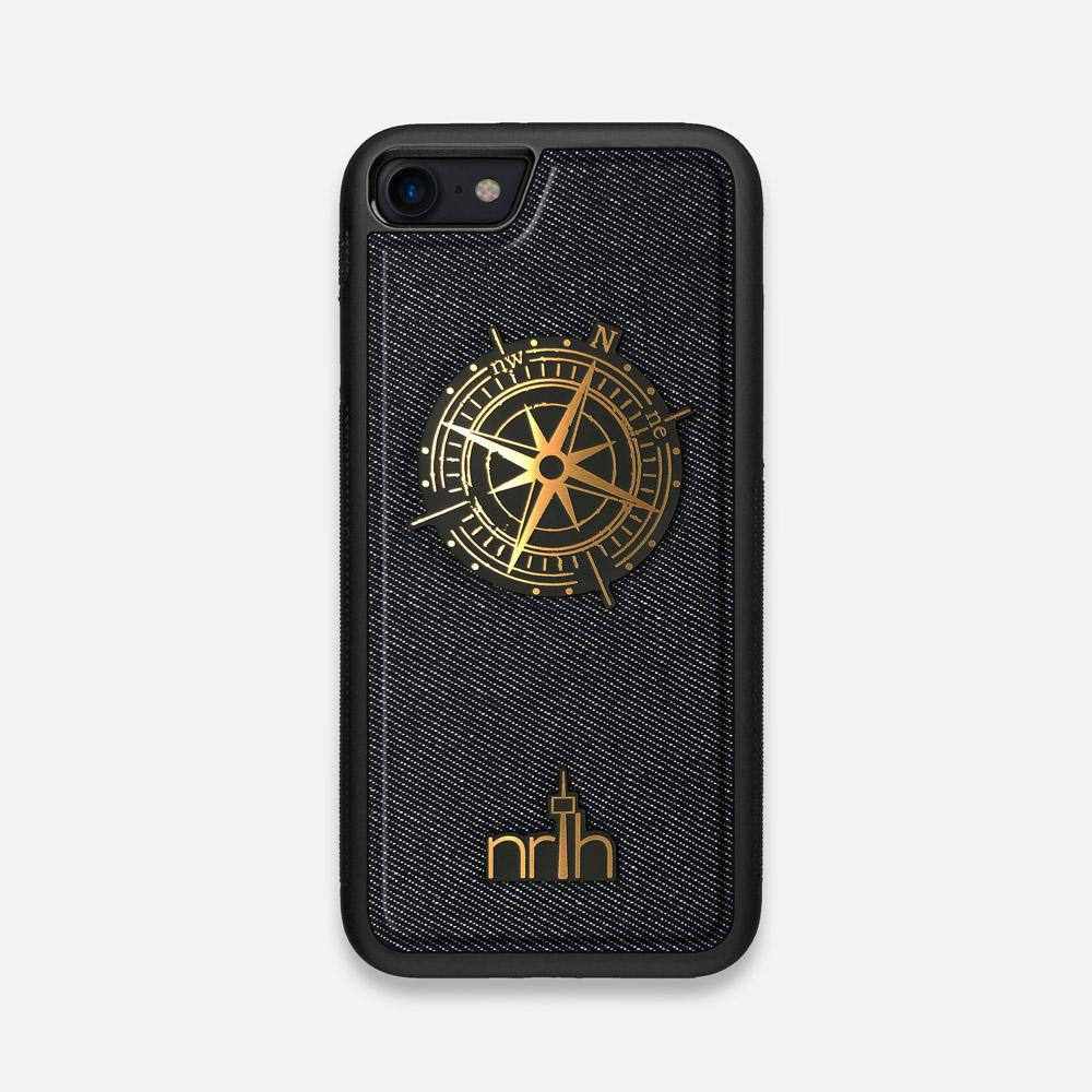 Front view of the Compass By Nrth Blue Denim iPhone 7/8 Case by Keyway Designs