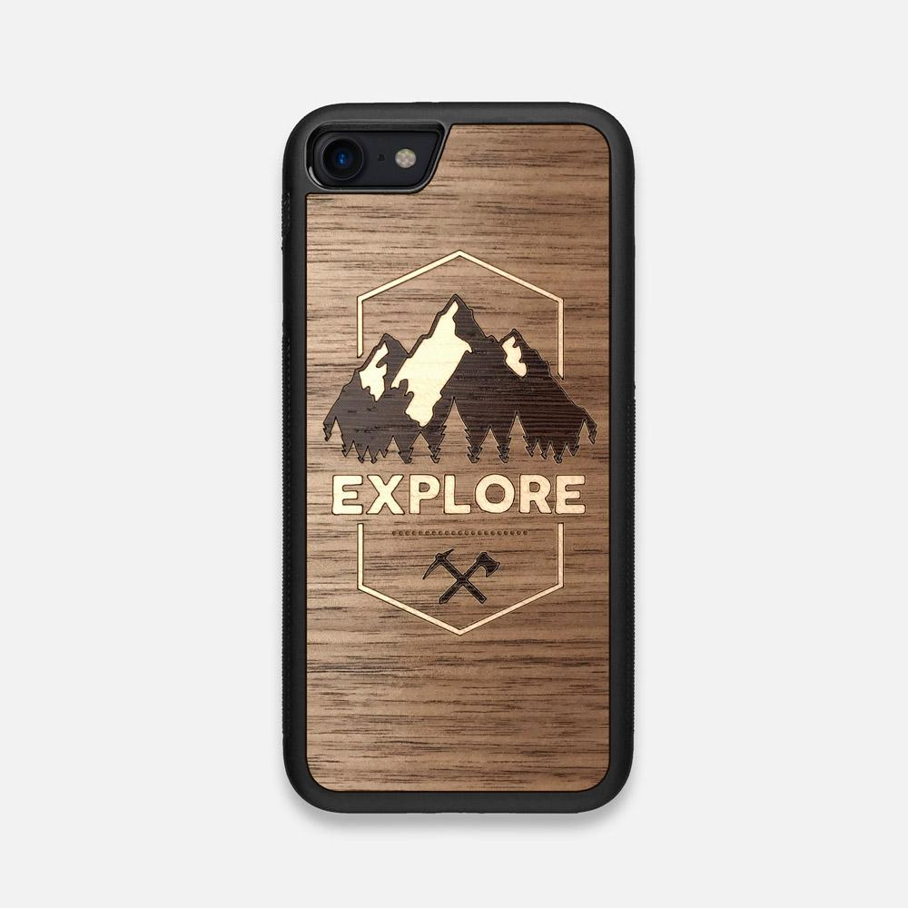 Front view of the Explore Mountain Range Wood iPhone 7/8 Case by Keyway Designs