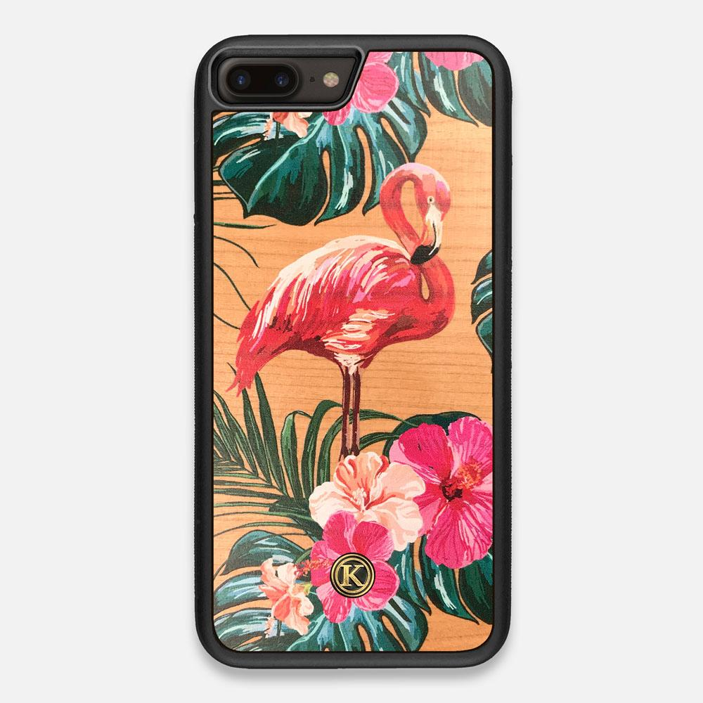 Front view of the Flamingo & Floral printed Cherry Wood iPhone 7/8 Plus Case by Keyway Designs