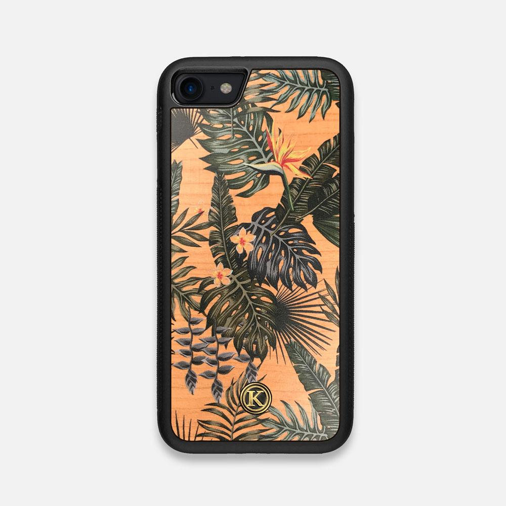 Front view of the Floral tropical leaf printed Cherry Wood iPhone 7/8 Case by Keyway Designs