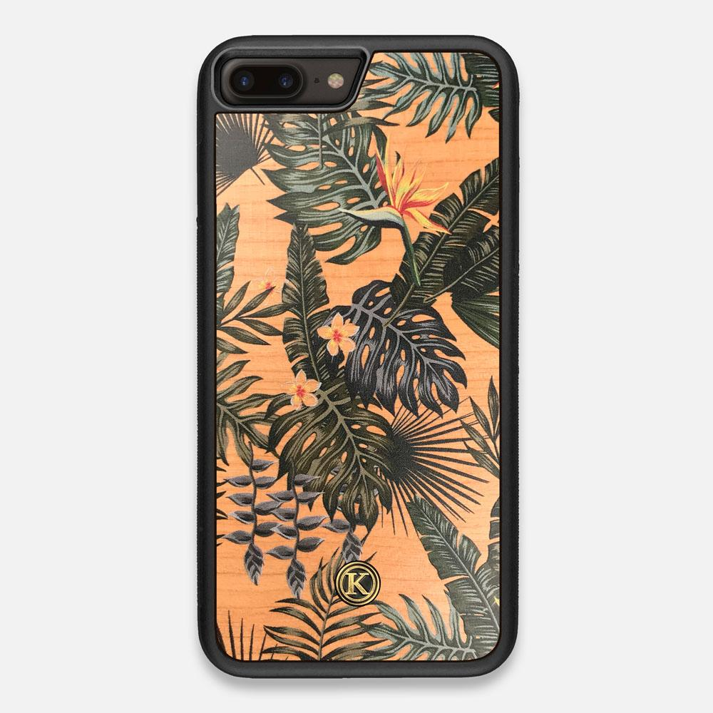 Front view of the Floral tropical leaf printed Cherry Wood iPhone 7/8 Plus Case by Keyway Designs