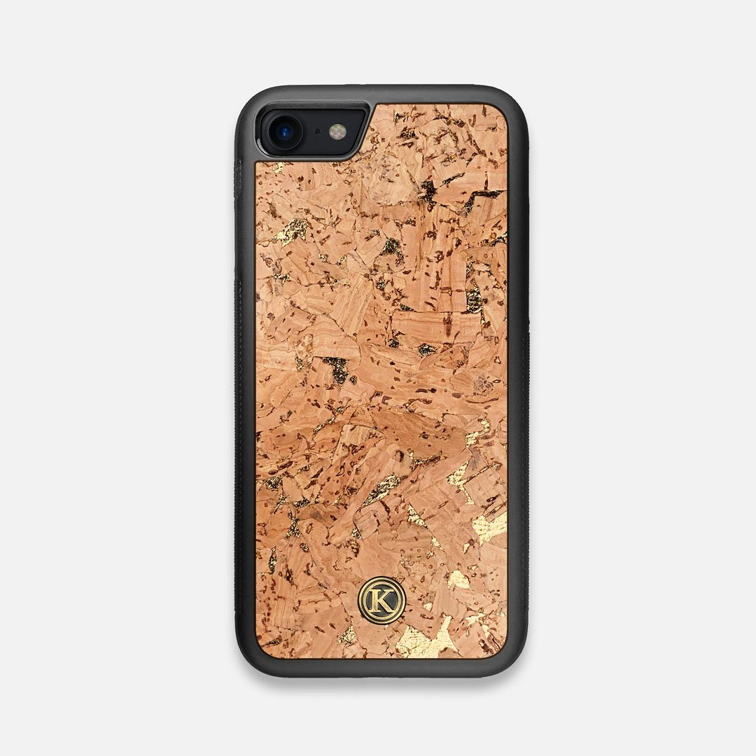 Front view of the gold fleck natural cork iPhone 7/8 Case by Keyway Designs