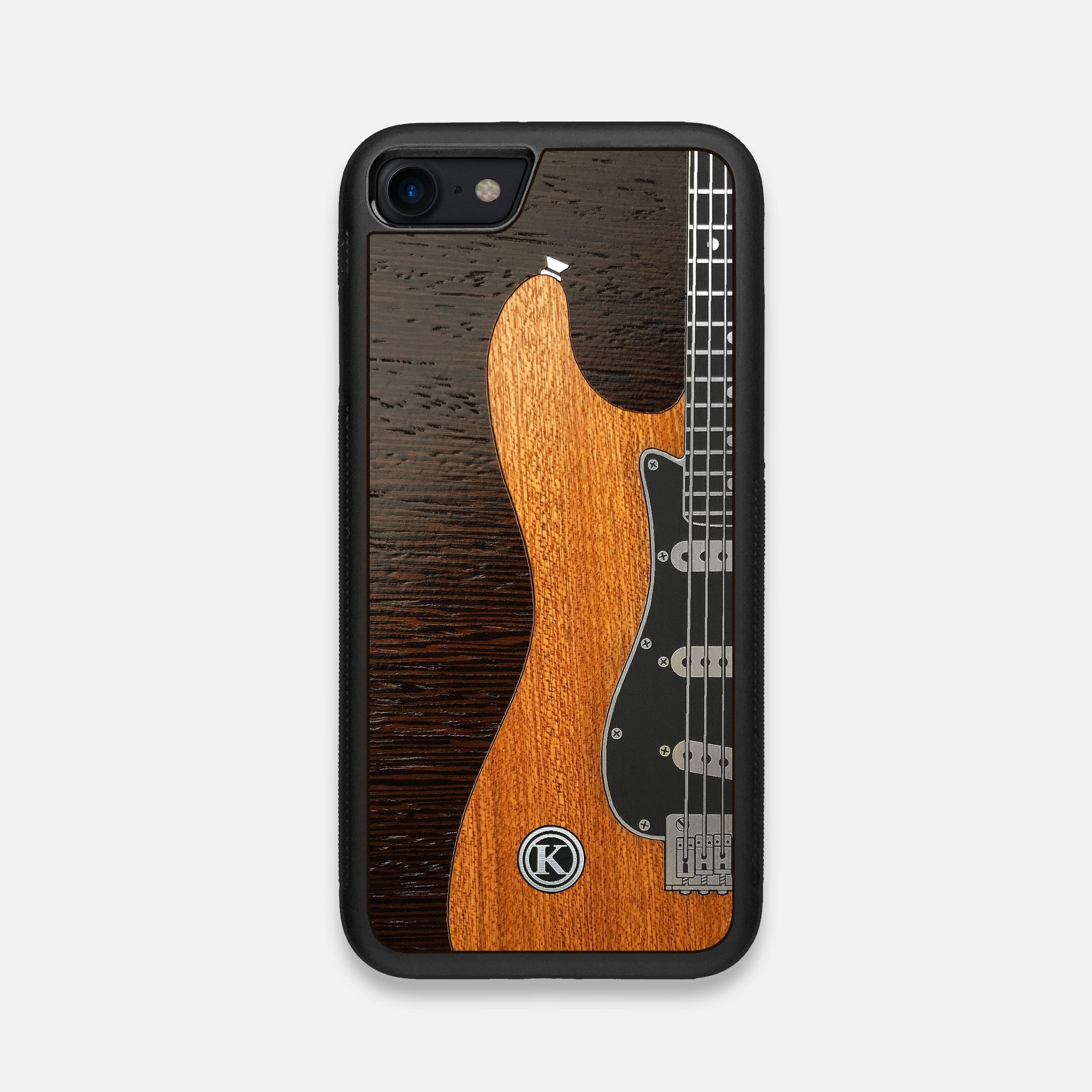 Front view of the Reverb Guitar Wood and Metallic  iPhone 7/8 Case by Keyway Designs