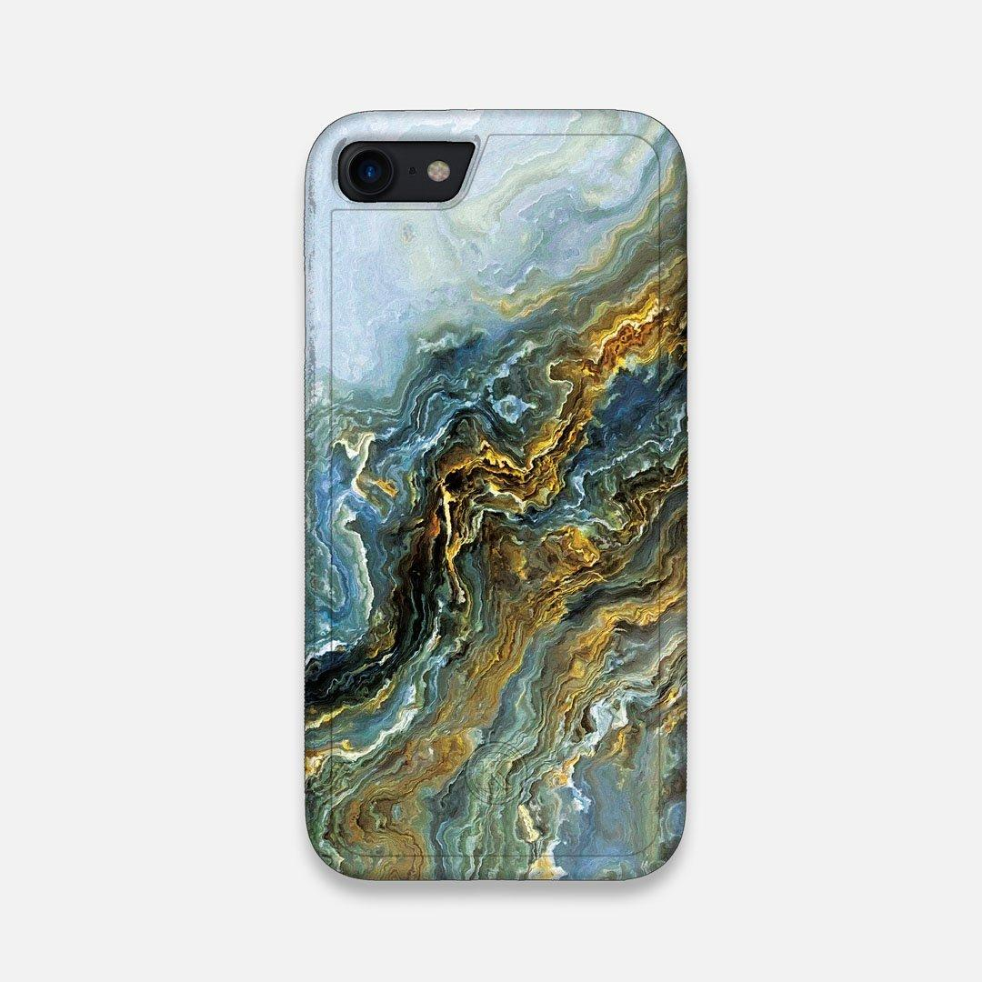Front view of the vibrant and rich Blue & Gold flowing marble pattern printed Wenge Wood iPhone 7/8 Case by Keyway Designs