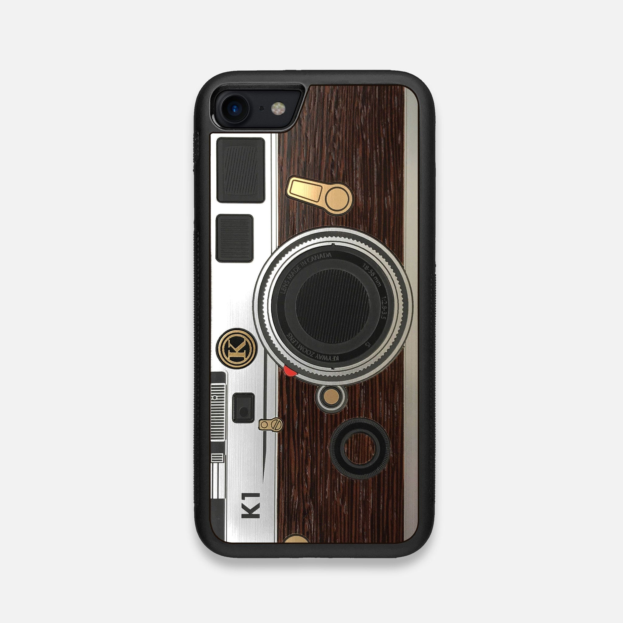 Front view of the classic Camera, silver metallic and wood iPhone 7/8 Case by Keyway Designs