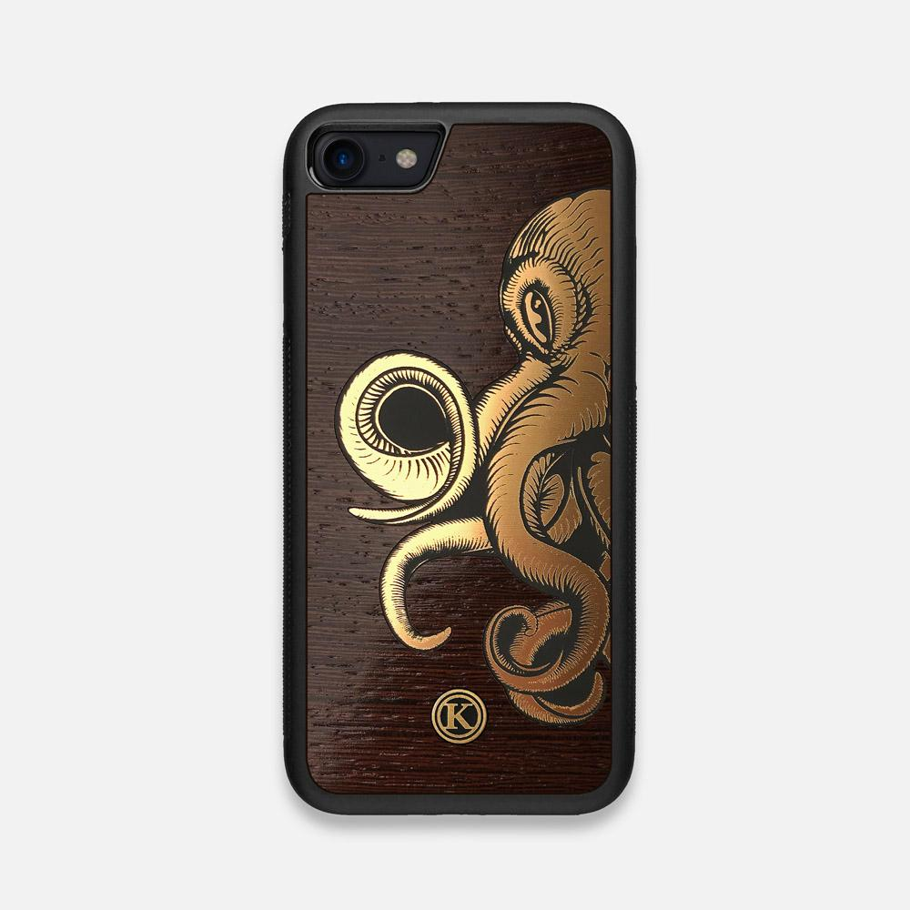 Front view of the Kraken 2.0 Wenge Wood iPhone 7/8 Case by Keyway Designs