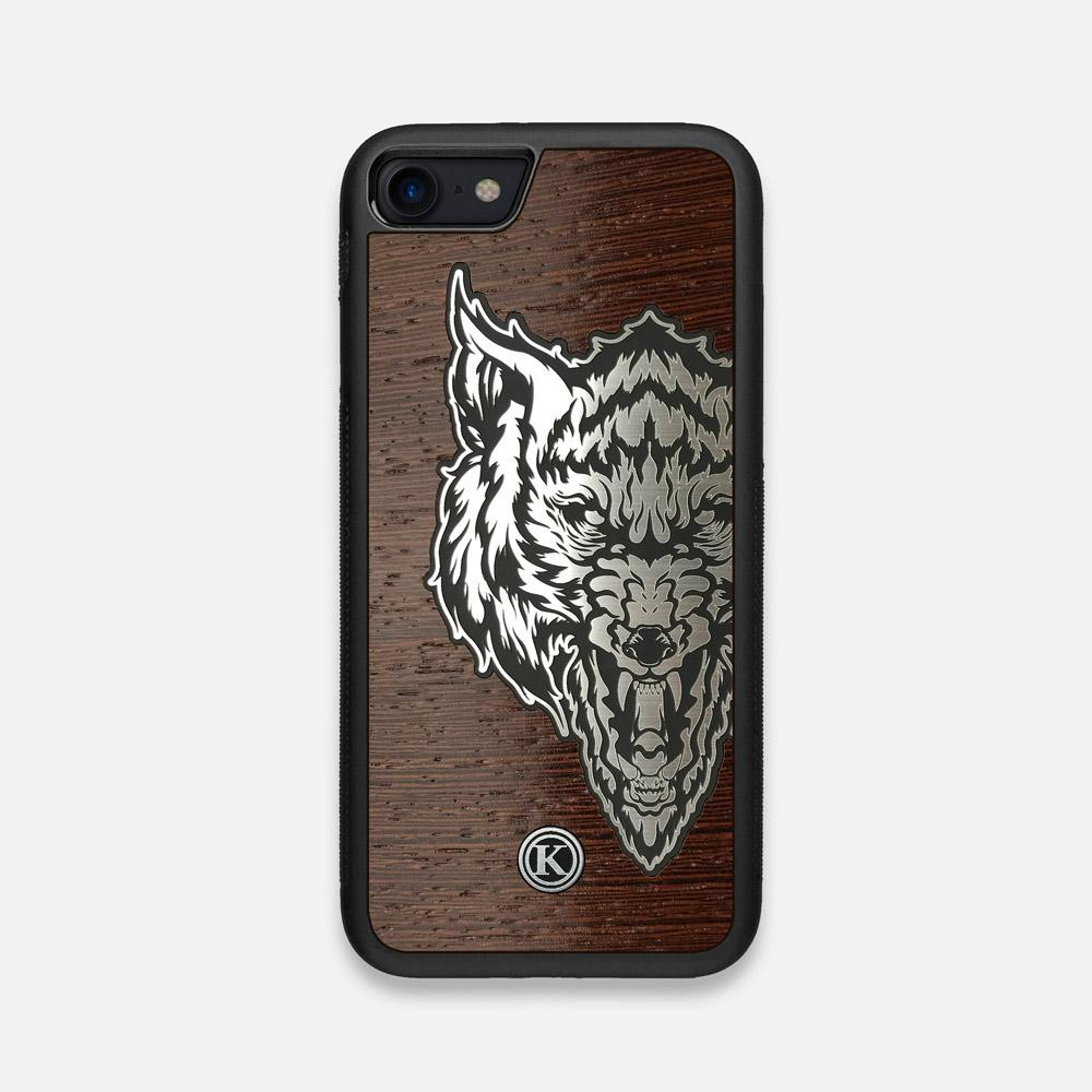 Front view of the Lobo Dark By Orozco Design Wenge Wood iPhone 7/8 Case by Keyway Designs