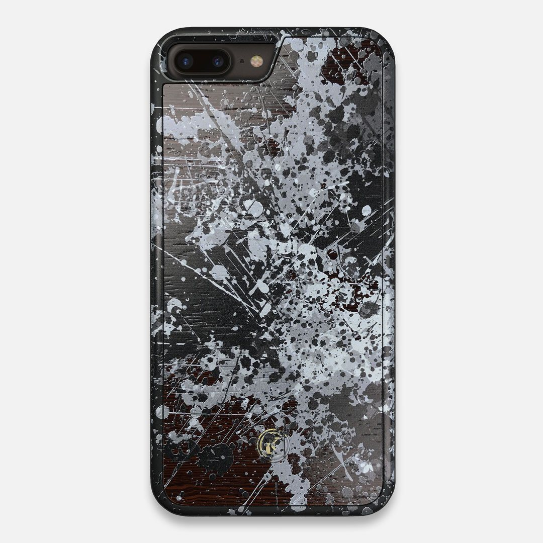 Front view of the aggressive, monochromatic splatter pattern overprintedprinted Wenge Wood iPhone 7/8 Plus Case by Keyway Designs