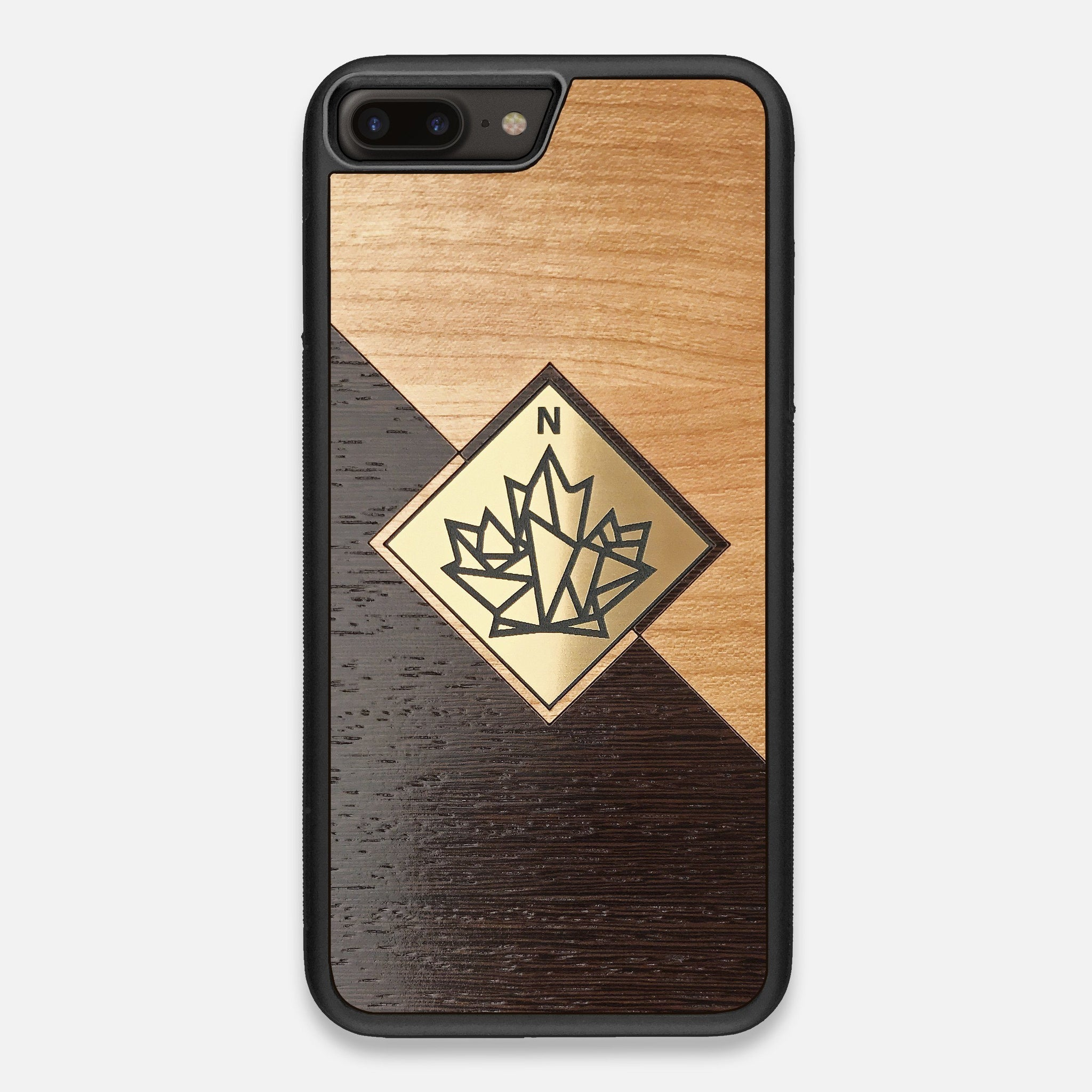 Front view of the True North by Northern Philosophy Cherry & Wenge Wood iPhone 7/8 Plus Case by Keyway Designs
