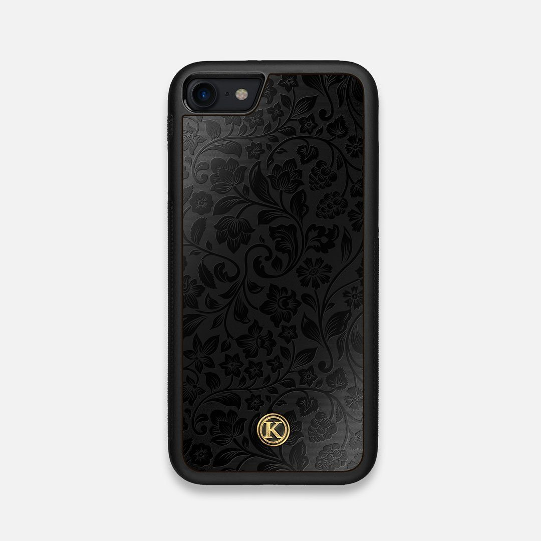 Front view of the highly detailed midnight floral engraving on matte black impact acrylic iPhone 7/8 Case by Keyway Designs